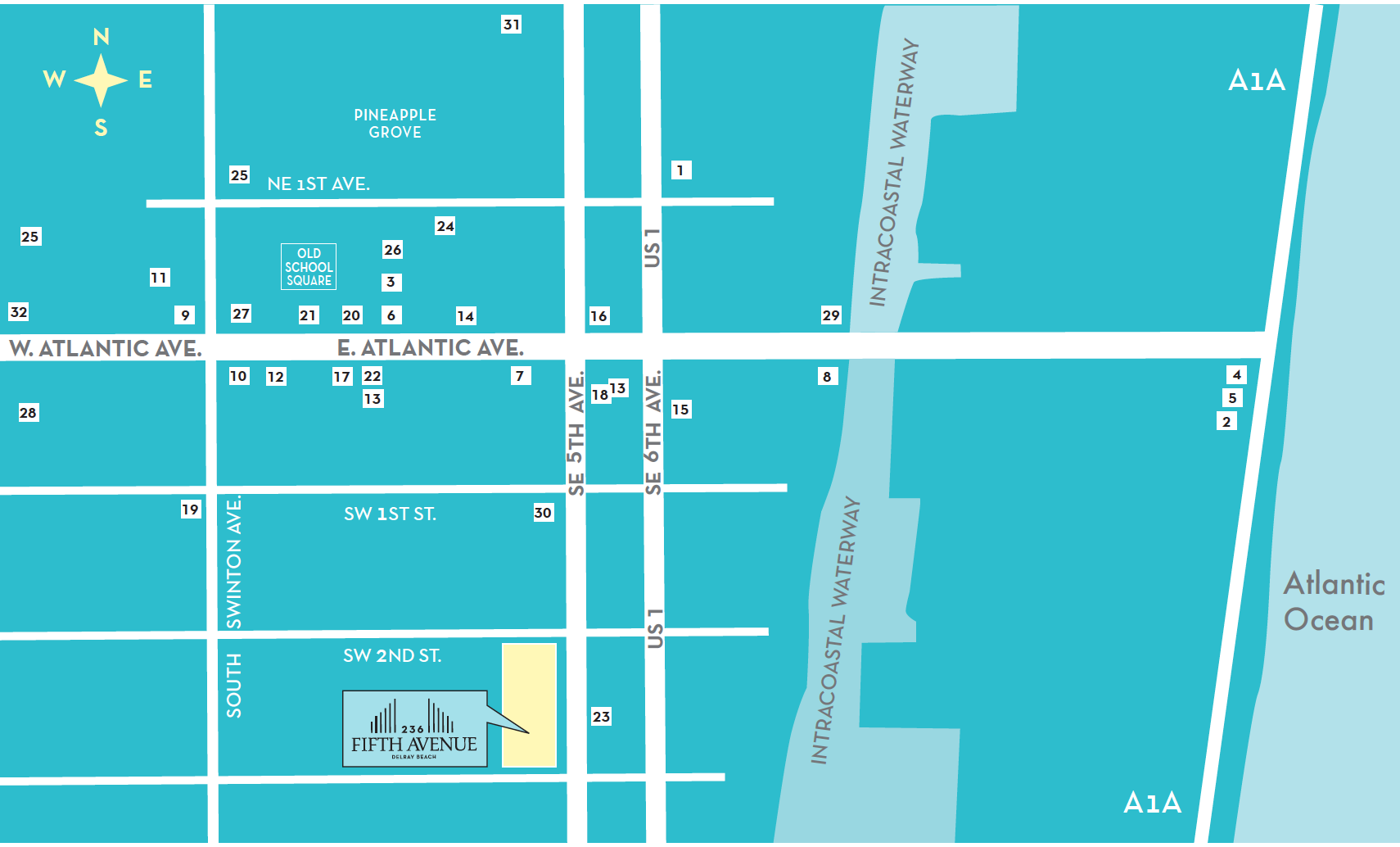 map of downtown Delray Beach